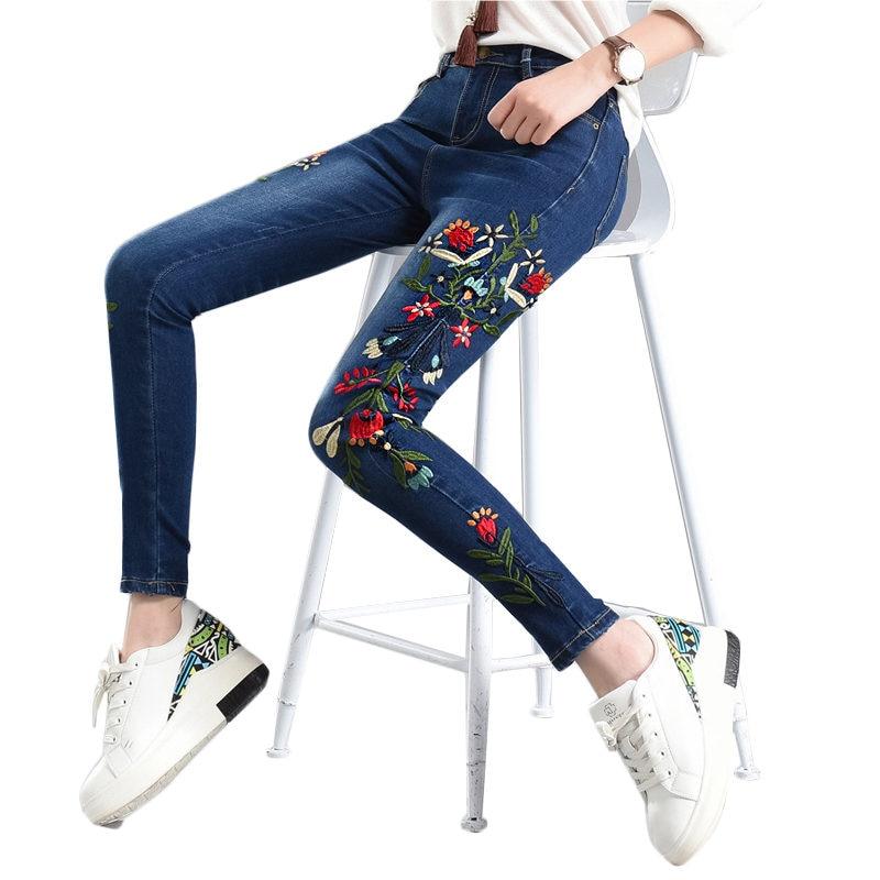Plus Size 4XL Flowers Embroidery   Jeans   Woman Vintage Pencil Pants High Waist Skinny Women   Jeans   Long Pants Trousers Women C3887