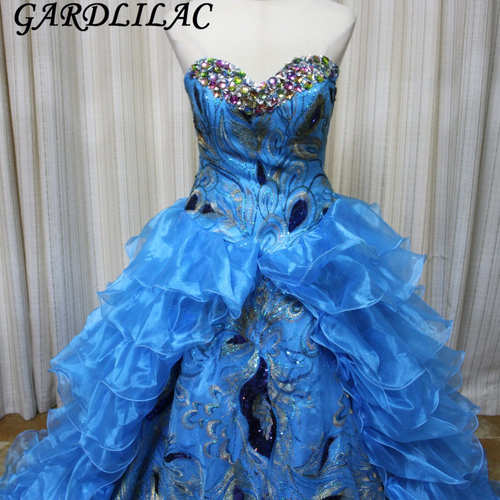Robes de 15 ans Noble Bleu Robes De Quinceanera 2017 Sweetheart Quinceanera Robes avec Broderie Perlage Tulle Custom Made