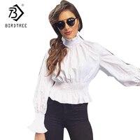 Weiß Tops Frauen Europa und Amerikanischen Stil 2018 Neuen Frühling Blusen Rollkragen Damen Büro Arbeitskleidung Kleidung Für Weibliche T7D446L