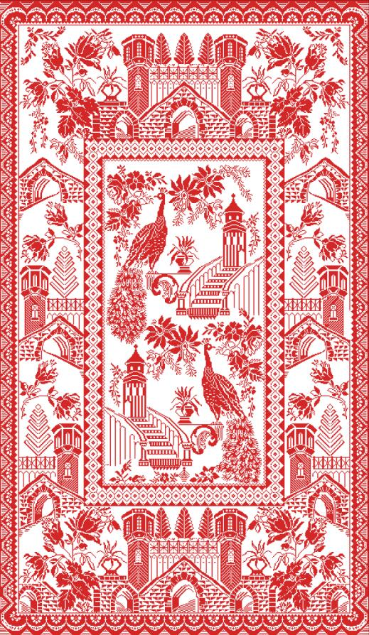 Peacock castle cross stitch package simple 18ct 14ct 11ct white fabric cotton silk thread embroidery DIY