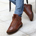 2017 New Tide Autumn Winter High Top Sneakers Men Casual Skate Shoes Mens Fashion Leather Flat Cotton Shoes Ankle Boots O1484
