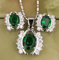 Beautiful Eyes Fantastic Green Stones White Fashion Silver Jewelry Sets Earrings Pendant S8191