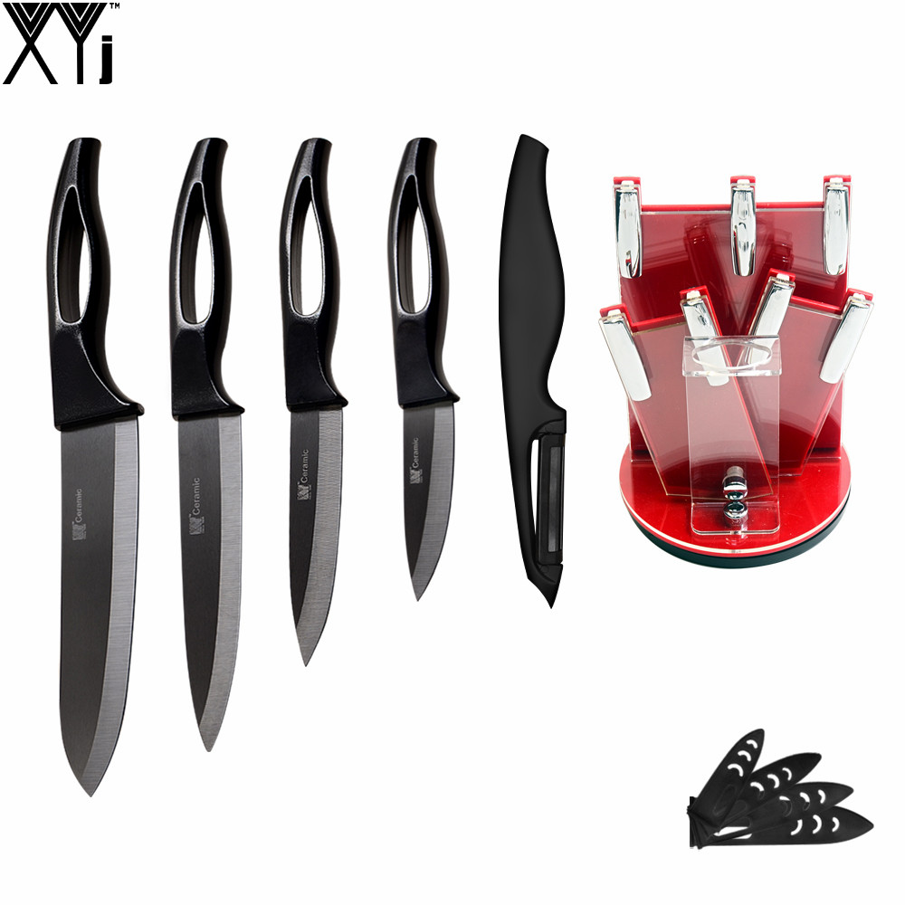Most Popular XYJ Brand Kitchen Knife Set Red Knife Stand + Sharp Peeler + 3 Paring 4 Utility 5 Sciling 6 Chef Ceramic Knives