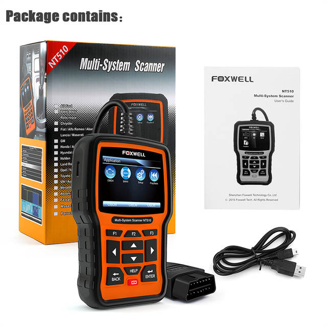 US $176 46 |FOXWELL NT510 OBD2 OBD Automotive Scanner ABS SRS EPB  Transmission Oil Reset Diagnostic Tool for Hyundai/KIA/BMW/Ford/VW/Audi -in  Engine