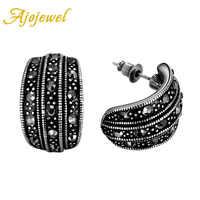 Ajojewel Brand New Vintage Retro Ladies Jewelry Fashion Simple Black CZ Stud Earrings For Women