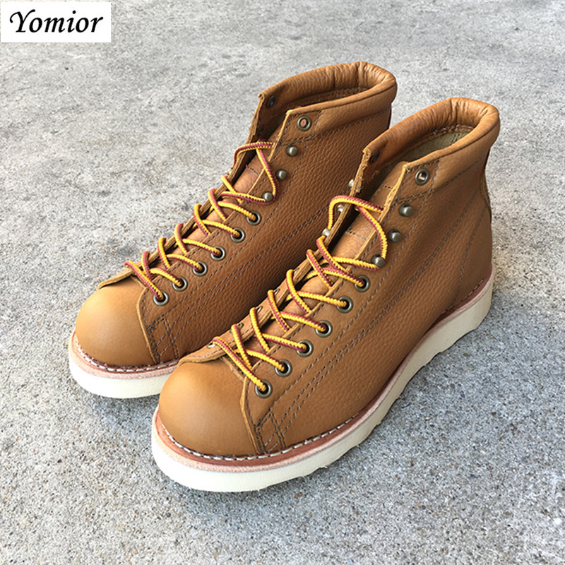 Yomior New Fashion Design Spring Autumn Winter Men Leather Shoes Ankle Boots British Casual Lace Up Dress Boots Breathable men spring autumn full grain leather ankle boots lace up fashion casual real leather men boots 20170107