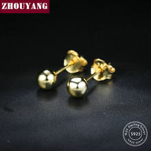 ZHOUYANG Three size Bead Ball Peas 100% 925 Sterling Silver Earrings Jewerly For Women Man EY127 EY128 EY129 EY215 EY216 EY217(China)