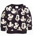 2017 Meninos Meninas Camisolas Terry Algodão Mickey Minnie Mouse Ocasional da Camisola Do Esporte Para Crianças Casacos Com Capuz Outono Criança Roupas