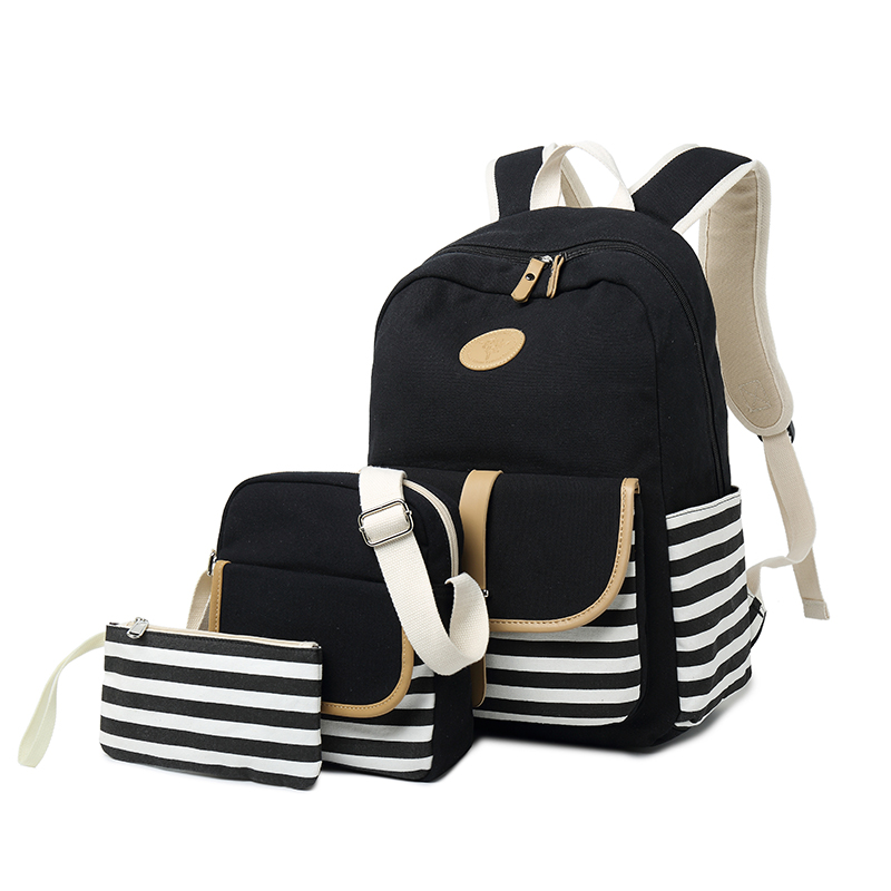 Unisex Retro Canvas School Backpack with Authentic Leather Flap Casual Rucksack Fit for 15.6 Inches Laptop Men Vintage Backpack retro style two front pockets laptop compartment vintage canvas solid color backpack