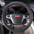 Sew-on genuine leather car steering wheel cover Car accessories For Ford Kuga Escape 2013 2014