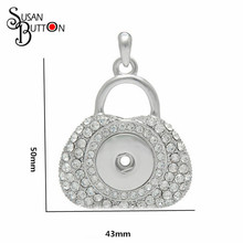 DIY Interchangeable Jewelry snap button pendant necklace silver rhinestone crystal handbag pendant for 18mm sanp charms SJSB3895(China)