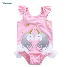 Cute kids Unicorn swimsuits ruffle sleeveless print baby girls one piece bikini swimwear children beachwear 2018 new summer 2-8 girls unicorn print ruffle trim swimsuit
