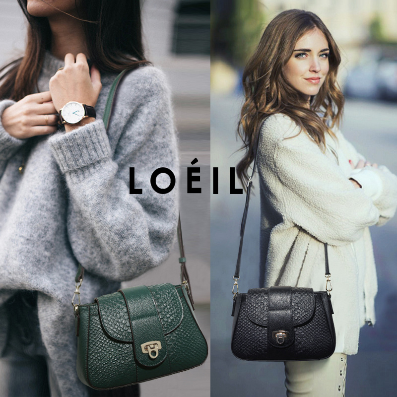 LOEIL The first layer of leather 2018 new leather handbags Europe and the United States fashion shoulder diagonal package crocod aetoo leather handbags new small square package europe and the united states fashion shoulder oblique cross bag head layer of le