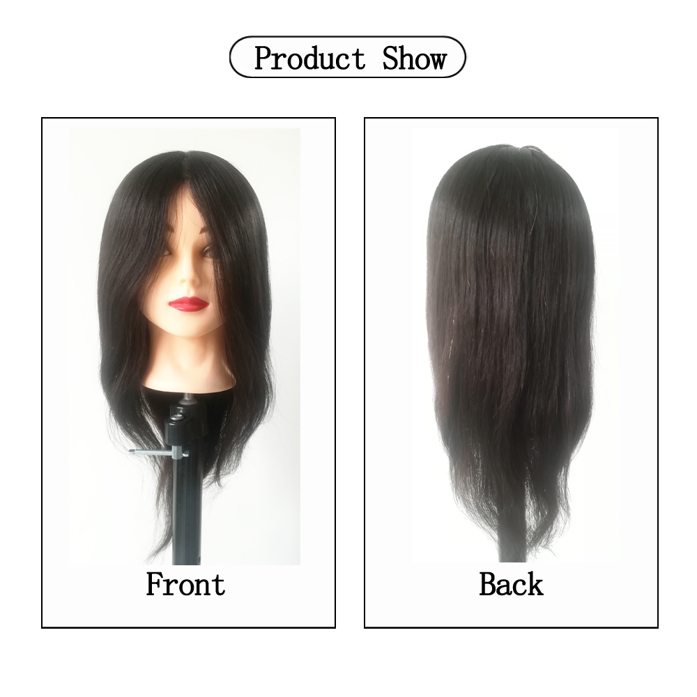 16inch Mannequin Head Straight 100 Human Hair Hairdresser Training Perm Bleaching Dyeing Haircut Manikin Cosmetology Doll Head