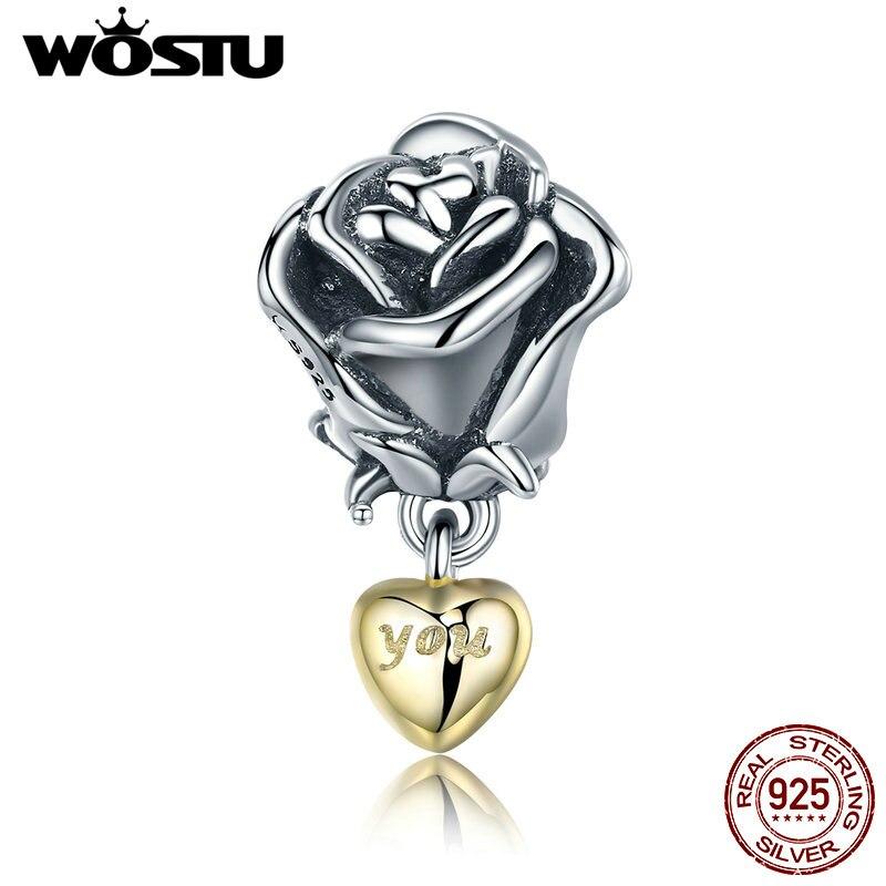 WOSTU Reale Dell'argento Sterlina 925 Fiore di Rosa con Voi in cuore Ciondola Il Fascino misura Branelli Dei Monili Del Braccialetto Regalo di San Valentino CQC455