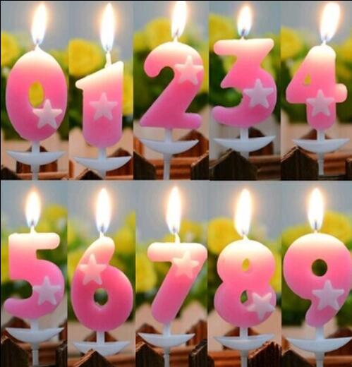 1 Set Birthday Candles For Cake Pink Star 0 9 Number Candle