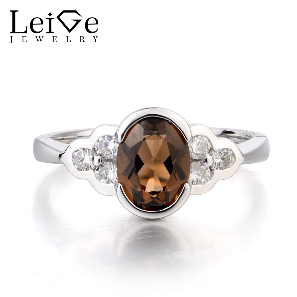 Leige Jewelry Natural Smoky Quartz Ring Engagement Ring Oval Cut Brown Gemstone Solid 925 Sterling Silver Xmas Gifts for Women leige jewelry oval shaped smoky quartz ring 925 sterling silver wedding engagement halo rings for women oval gemstone jewelry