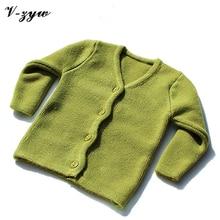 Шерстяной трикотаж открыть стежка толстый осенью кардиган зимой новорожденный свитер твердые
