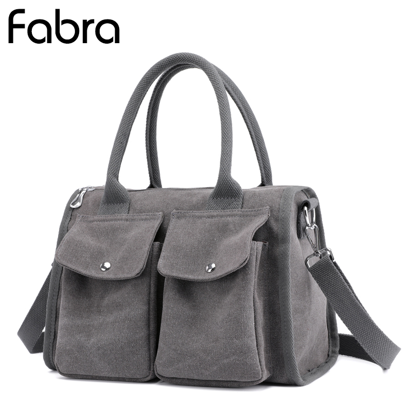 Fabra New Women Canvas Messenger Bags Crossbody Bags Solid Shoulder Bag Casual Designer Female Handbag Middle Size Casual Tote ...