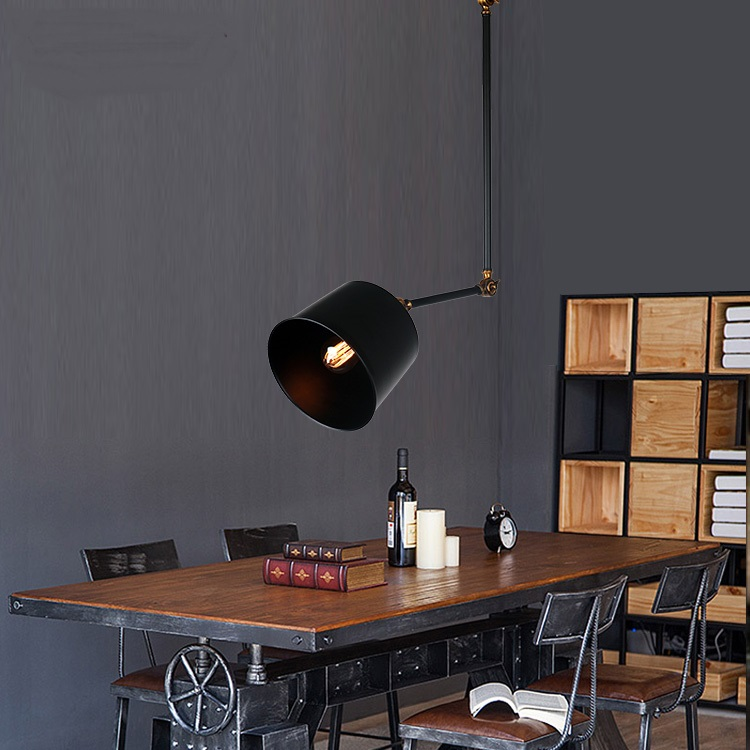 restaurant new fashion Pendant Lights Retro Black Iron Pendant lamps American industrial retro creative arm universal bar ascelina american retro pendant lights industrial creative rustic style hanging lamps pendant lamp bar cafe restaurant iron e27