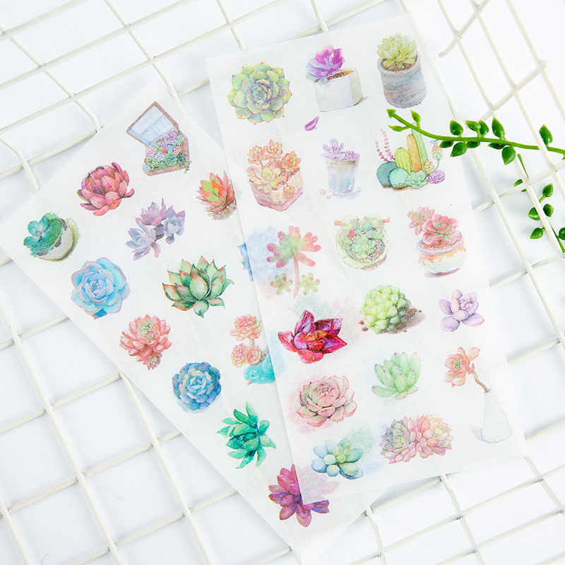 6 pcs/pack Succulent Plants Stickers Set Decorative Stationery Sticker Scrapbooking Diary Photo Album Stick Label DIY Gift Kids
