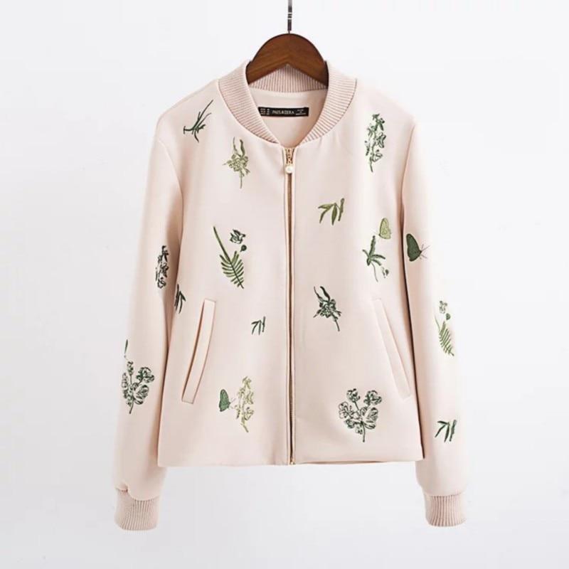 Женщины элегантный цветочный Вышивка с длинным рукавом короткая куртка топы 2016 Осень новое пальто Женский случайные Куртка Бомбардировщика # Z183