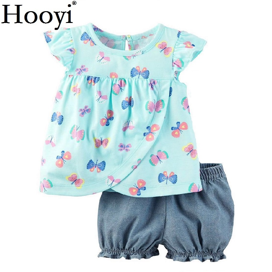 Butterfly Baby Girls 2-Pieces Clothes Suit Newborn Clothing Sets Girls T-Shirt Jumpers Hot Shorts Pants Children Dress 0-2 Year