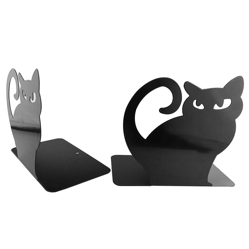 Cute Cartoon Persian Cat Metal Non Skid Bookends Bookend Art Book Holder Decoration,1 Pairs deli korea creative book holder 2pcs set metal bookends decorative bookend cute animal book holder for reading support kid gifts