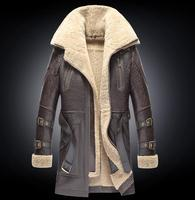 Men Winter Thicker Fur one Leather Coat Men's Double Collar Long Sheepskin Leather Jacket High end Genuine Leather Outwear coats