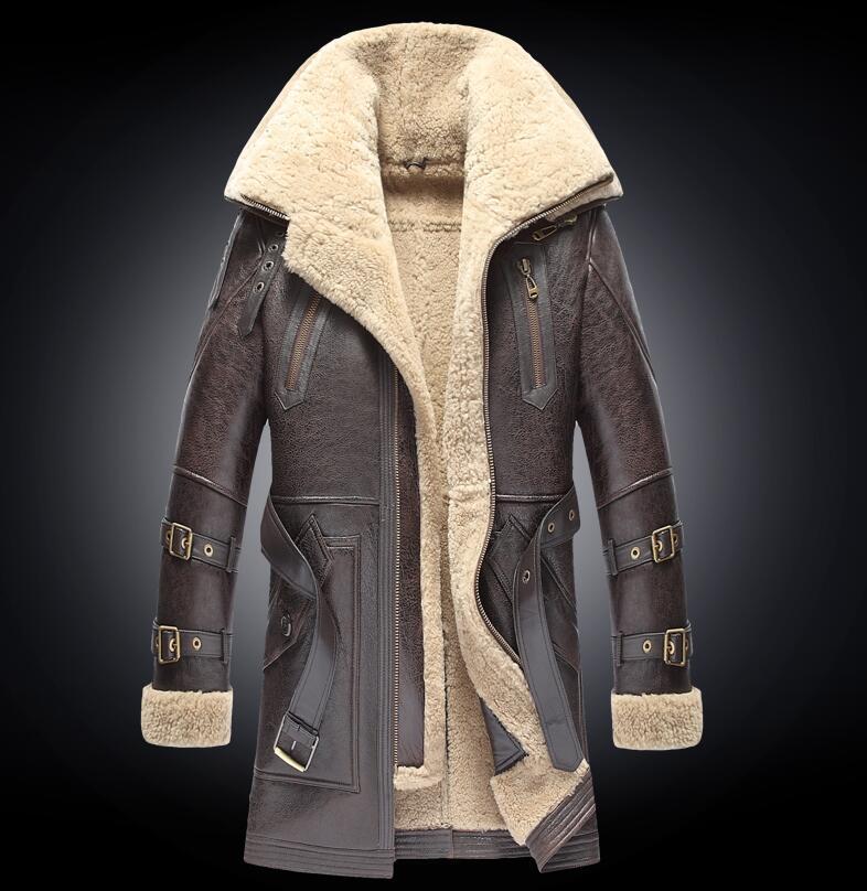 Hommes hiver plus épais fourrure un manteau en cuir hommes Double col Long en peau de mouton veste en cuir haut de gamme en cuir véritable manteaux Outwear