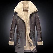 Men Winter Thicker Fur one Leather Coat Men's Double Collar Long Sheepskin Leather Jacket