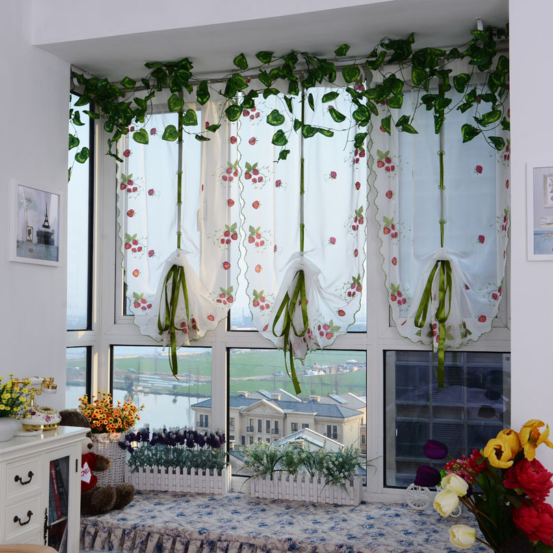 Lovely Strawberry Gauze Curtain Roman Shade Mediterranean Screens Cortinas Window  Sheer Curtains Kitchen Curtains Tulle 1PCS(