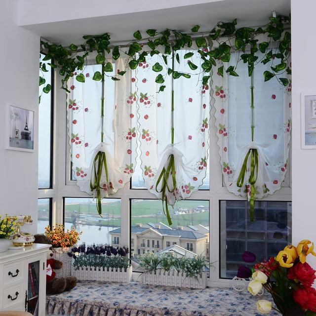 aardbei gaas gordijn romeinse schaduw mediterrane schermen cortinas venster sheer gordijnen keuken gordijnen tulle 1 stks
