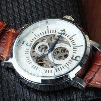 Элитный бренд модные спортивные Деловые часы кожаный ремешок Для Мужчин Скелет серебристый корпус Часы Reloj Hombre GOER