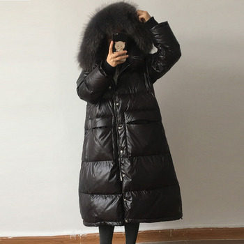 2019 New Winter Jacket Women Real Raccoon Fur Collar Warm Parka Fashion Loose Women Down Jacket Winter Jacket Women Coat LP421
