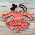 Niñas de invierno y otoño vestido vestido de los cabritos bebés flare asymmertrical vestido coral ropa de algodón sólido de manga larga vestido de fiesta