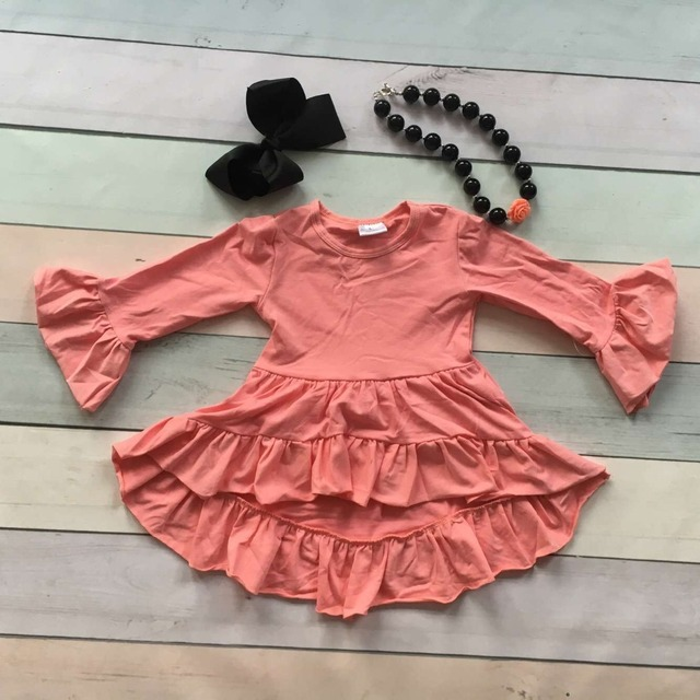 girls Winter and Fall dress kids dress baby girls Asymmertrical dress coral solid cotton clothes flare long sleeve party dress