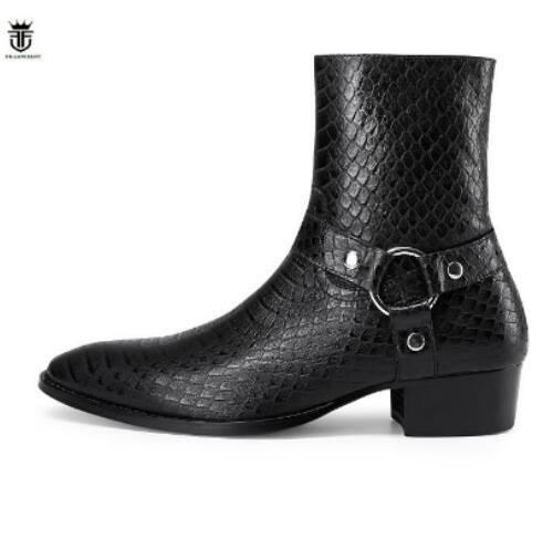 Ayakk.'ten Chelsea Çizmeler'de 2019 FR. LANCELOT Marka Lüks Sıcak İngiliz Tarzı Yılan Derisi Timsah Deri Yan Fermuar Erkek yarım çizmeler Toka Chelsea Çizmeler'da  Grup 1
