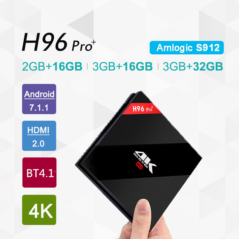 H96 Pro+ Android 7.1 Smart TV Box 3G RAM 32G ROM Amlogic S912 Octa Core Set Top Box 2.4GHz 5.0GHz WiFi 4K Media Player VS TX2 shinsklly x92 android tv box amlogic s912 octa core ram 2g rom 16g 32g smart tv box android 6 0 wifi 4k 3d player set top box