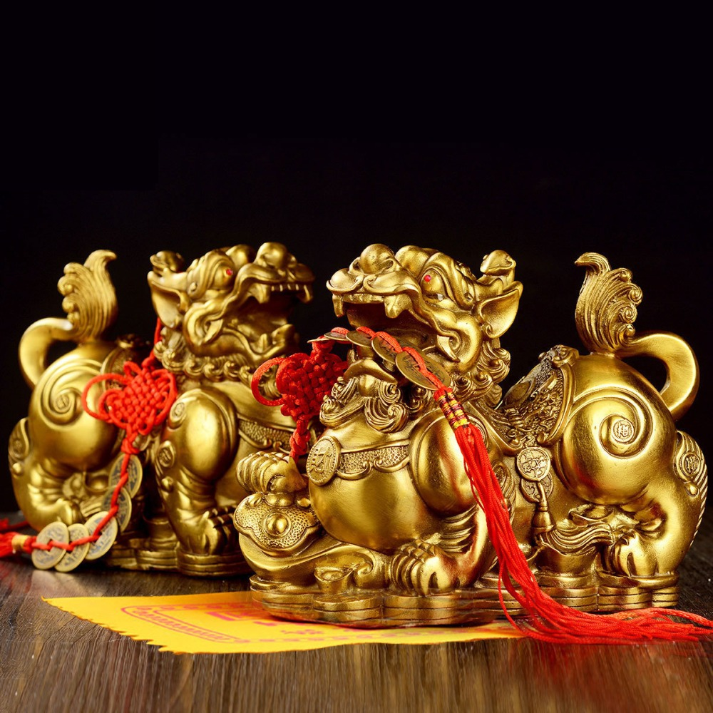 Feng Shui Golden Brass Pi Yao/Pi Xiu Wealth Prosperity Figurine,Attract and Good Luck,Best Decoration for Office Home