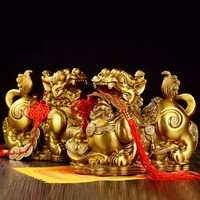 Feng Shui Golden Brass Pi Yao/Pi Xiu Wealth Prosperity Figurine,Attract Wealth and Good Luck,Best Decoration for Office and Home