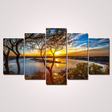 HD 5 Panel High Quality canvas painting HD Print Sunset tree picture decoracion wall pictures for living room oil paintings(China)