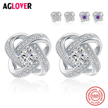 AGLOVER Trendy Authentic 925 Sterling Silver Dazzling Flower Stud Earrings With Clear CZ Fashion Jewelry for Girls