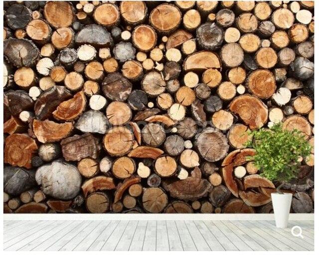 Custom texture wallpaperPile of Fire Wood Wall Mural Wallpaper for