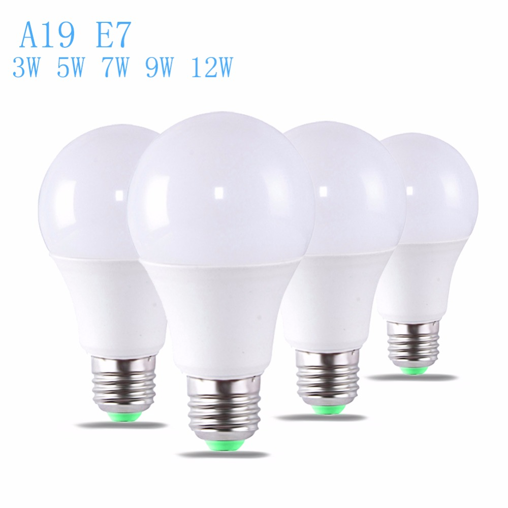 2pcs LED Light Bulb 3W 5W 7W 9W 12W  A19 E27  Real Power Led Light Bulb Warm White Daylight White Led Spotlight Lamp