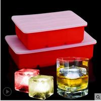 Kitchen Bar Cooking Ice Cream Tools Red Silicone Big Square Ice Mold Freeze Ice Cube Tray