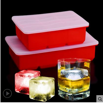 Kitchen bar Cooking Ice Cream Tools Red silicone big square Ice mold Freeze Ice Cube Tray mould with cover free shipping