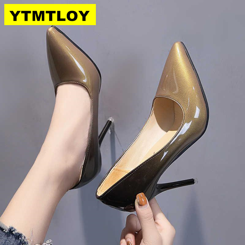Women Shoes Pumps Dress Wine Red Pointed-Toe High-Heels Patent 10CM Boat Zapatos-Mujer