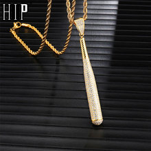 Hip Hop Iced Out Bling Full Rhinestone Copper Rope Chain Baseball Bat Pendant & Necklace For Men Jewelry Dropshipping