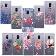 Phone Cases For Samsung A6 A8 Plus 2018 Case Flamingos Soft TPU Fashionable flower Silicone Cover